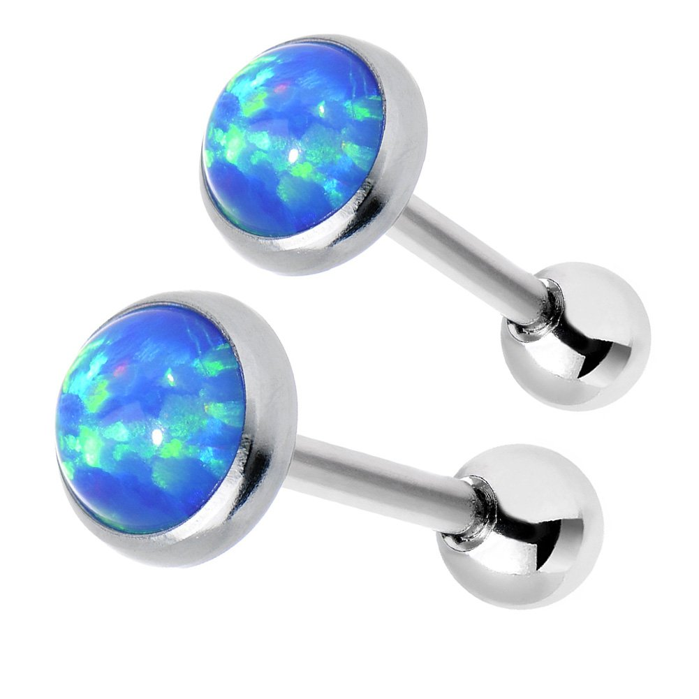 Raw Opal Stud Earrings in Surgical Stainless Steel Plated Platinum,Ball Backs with Internal Thread,Nickel Free Piercing,Light Weight,Pack of 3pcs