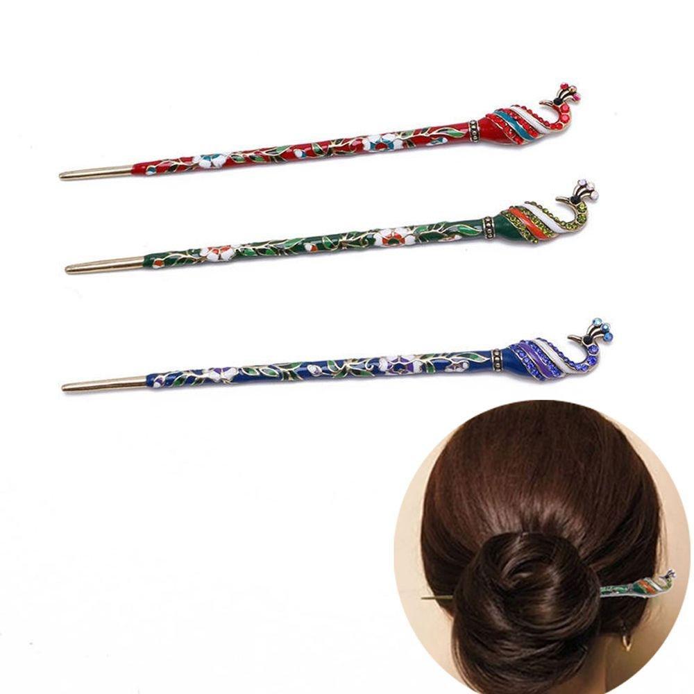 Boutiages Fashion Handmade Chopsticks Peacock Hairpin Barrette Rhinestone Cloisonne Hair Stick