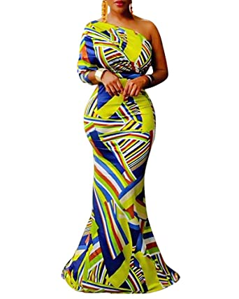 fe03688cf9 Faisean Womens One Off Shoulder African Print Dashiki Bodycon Maxi Dress  (X-Large