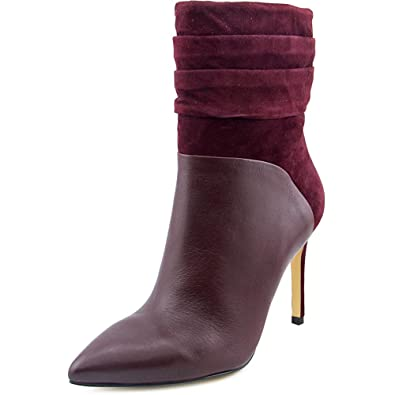 4a95464103b4 GUESS Women s Vvidlet Dark Red Leather Dress Booties Boots Heel Shoes