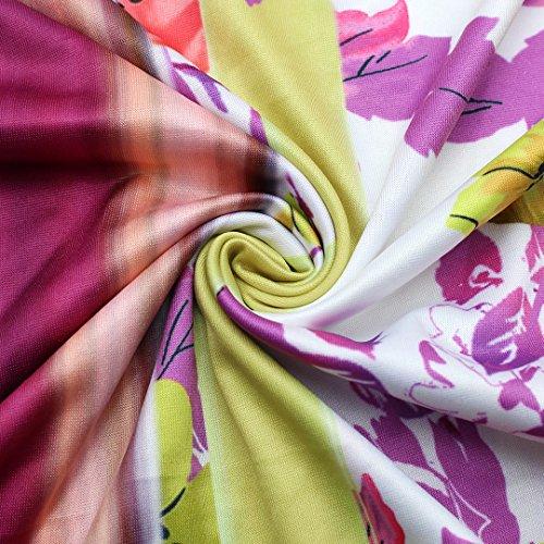 Falda larga maxi de flores, de verano, cintura alta, para playa Plum Blossom