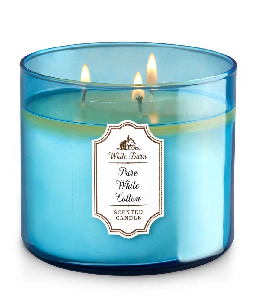 Bath & Body Works Candle 3 Wick 14.5 Ounce White Barn Pure White Cotton