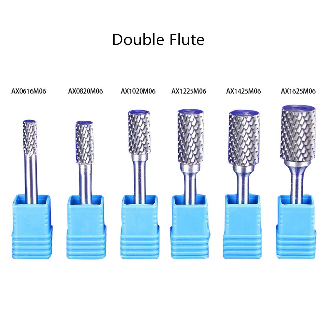 Premium CARBIDE Double Flute Cut Rotary Burr File 1/4'' 6mm SHK 8mm HEAD Cylindrical