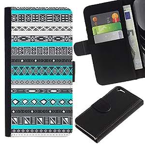 KLONGSHOP // Tirón de la caja Cartera de cuero con ranuras para tarjetas - Patrón Negro Blanco Nativo Indio - Apple Iphone 6 //