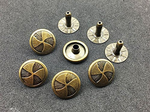 ARTS AND CRAFTS SUPPLIES 25Sets Antique Brass Fan Propeller Rivets Leather Concho Accessories Snaps RV093 ()
