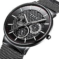 Watch Men's Fashion Stainless Steel Classic Black Casual Watch With Mesh Band Waterproof Analog Quartz Wrist Watch