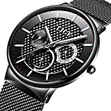 Watch Men's Fashion Stainless Steel Classic Black Casual Watch With Mesh Band Waterproof Analog Quartz Wrist Watch