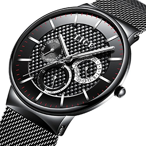 watch-mens-fashion-stainless-steel-classic-black-casual-watch-with-mesh-band-waterproof-analog-quart