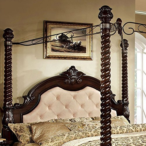 247SHOPATHOME FA-CM7296LA-C-EK-BED Poster bed, King, Dark Walnut