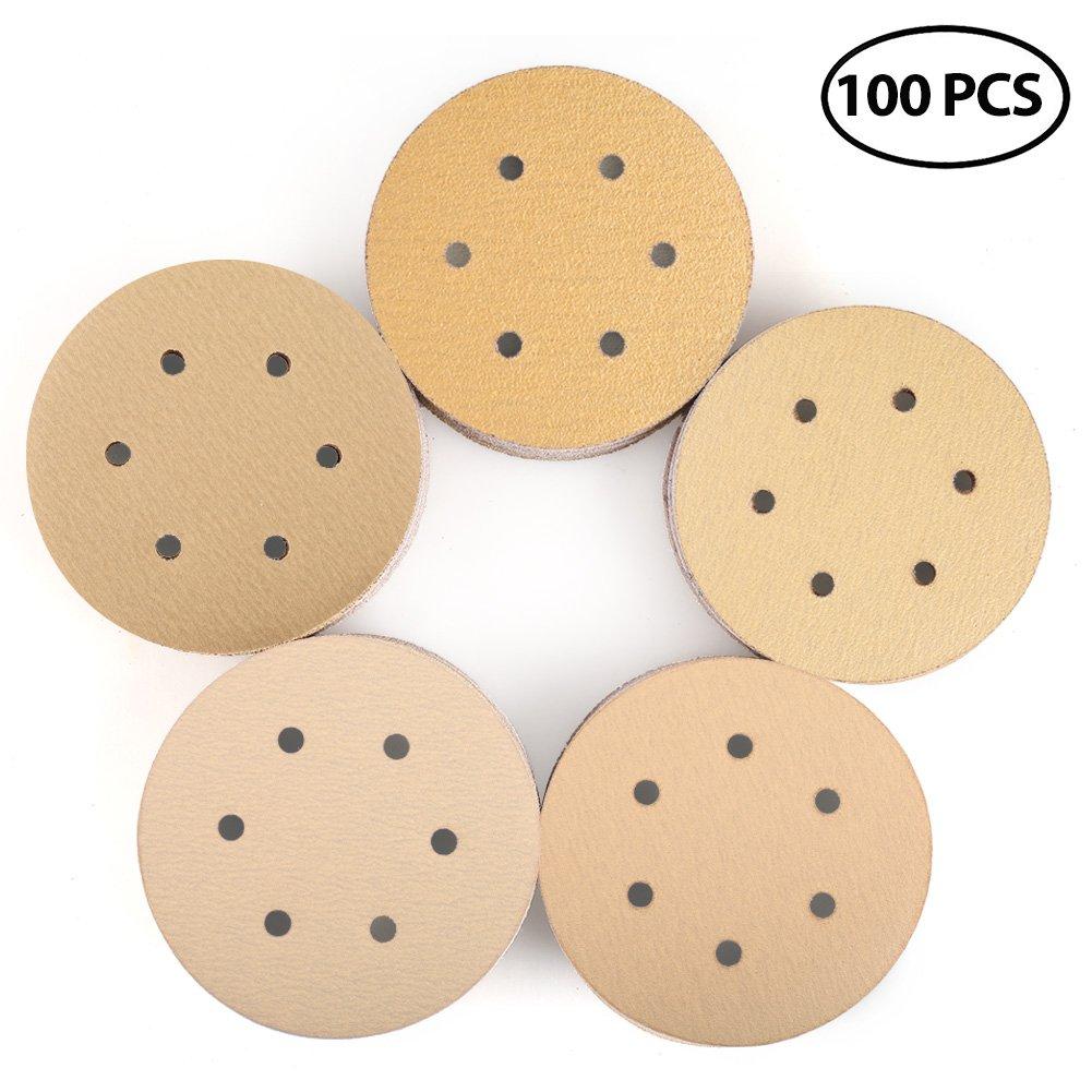 6 Inch 6 Holes Sanding Discs, 60 80 120 150 220 Grit Sandpaper Assortment - LotFancy Hook and Loop Random Orbital Sander Paper, Pack of 100