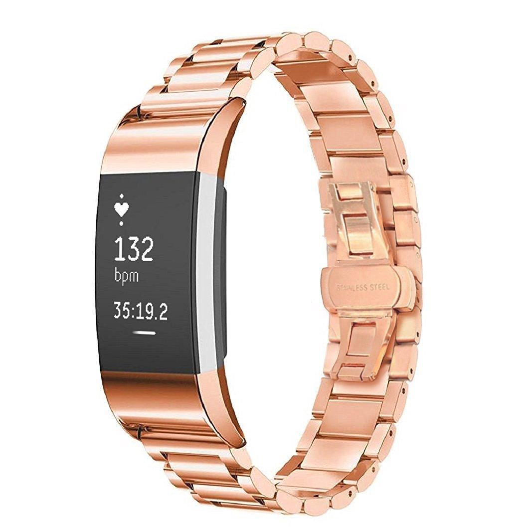 Fitbit Charge 2バンド、myrbtステンレススチール交換リストバンドブレスレットストラップfor Fitbit Charge 2フィットネスリストバンド  ローズゴールド B072PTY4MG