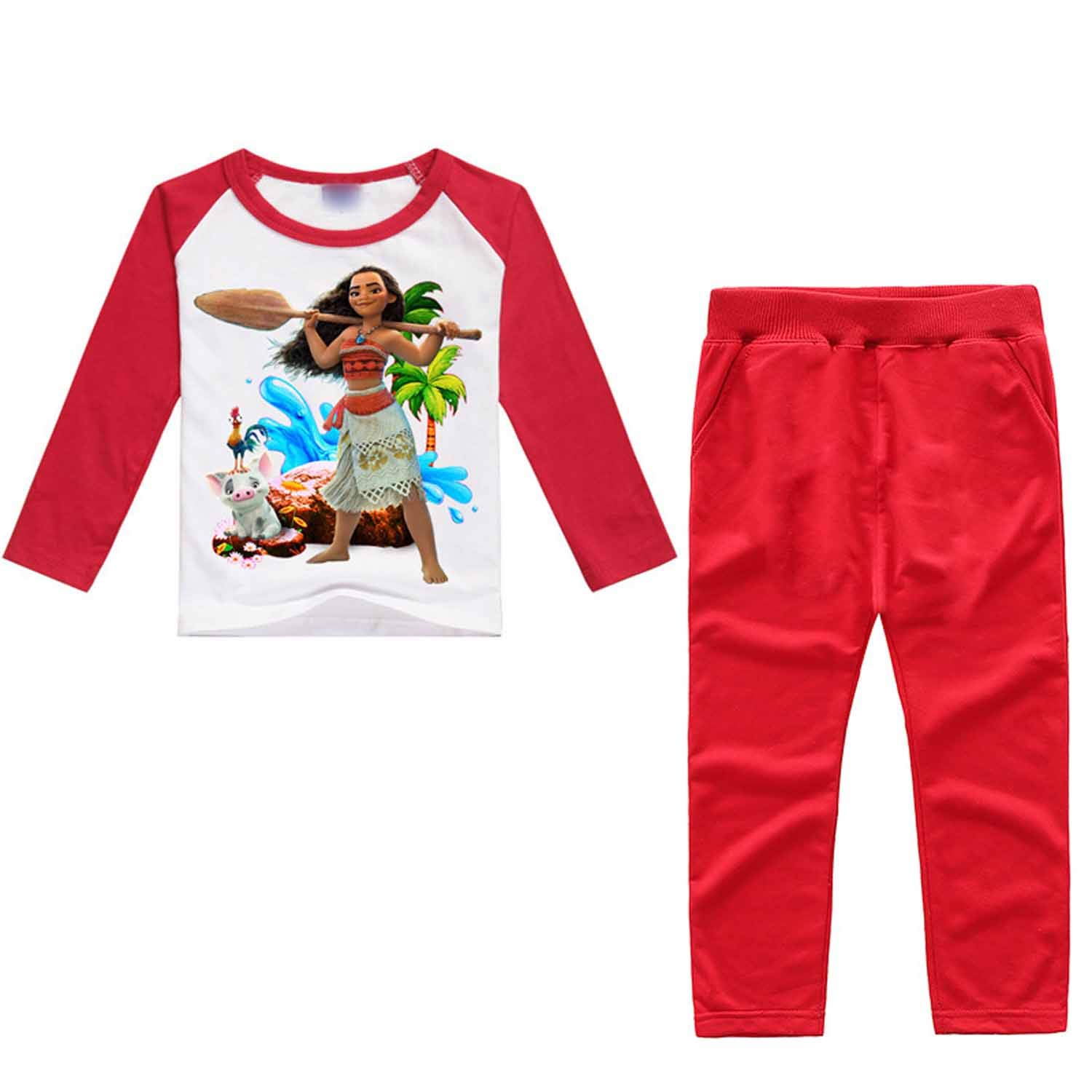 PCLOUD Moana Childrens Printing Long Sleeves T-Shirt Suit