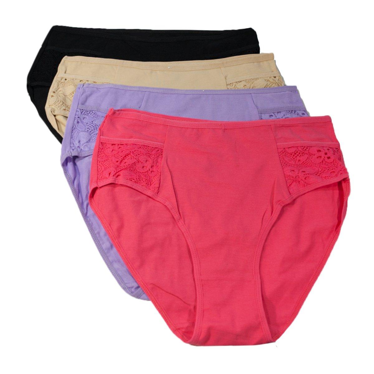 Love Hana Women's Lace Plus Size Brief Panties 4-Pack - XXXL by Love Hana (Image #1)