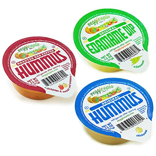 Veggicopia Dips, Variety Pack in 2.5oz Single Serving Cups (Pack of 12), No Refrigeration Required, Includes Original Hummus, Roasted Red Pepper Hummus, Edamame - Hummus Sabra