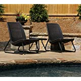 Keter Rio 3 Pc All Weather Outdoor Patio Garden Conversation Chair Set Furniture, Brown