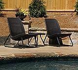 Keter Rio 3 Pc All Weather Outdoor Patio Garden Conversation Chair Set Furniture, Brown