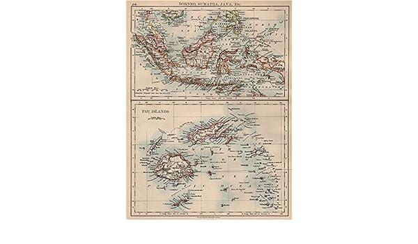 Amazon com: INDONESIA & FIJI  Sunda Islands  Borneo Java Sumatra