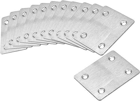20 Pcs Flat Fixing Mending Bracket Connector uxcell Repair Plate 60mm x 38mm