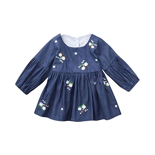 fdf36eede Amazon.com  Molyveva Little Girls Denim Dress Toddler Kids ...