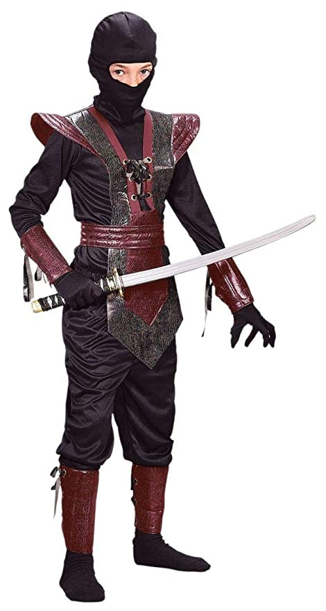 Halloween FX Ninja Fighter Leather Child Costume Large (Red)