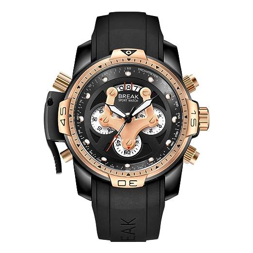 BREAK Reloj Cronógrafo de Lujo, Reloj de Cuarzo Exclusivo Reloj Analógico Impermeable para Hombres, Reloj Deportivo de Moda Relojes Luminosos Casuales con ...