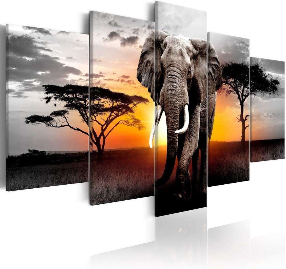 African Landscape Wall Art Elephant Painting on Canvas Modern Wild Animal Print Artwork