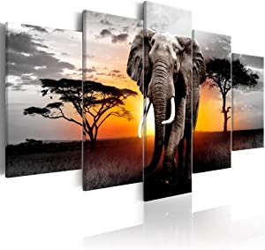 Large African Landscape Painting Elephant Wall Art Canvas Print Modern Wild Animal Artwork