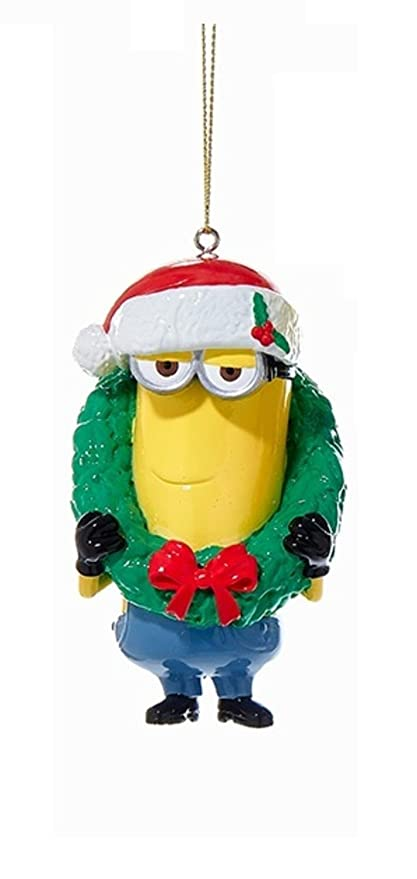 ksa 375 despicable me minion kevin with holiday wreath christmas ornament - Minion Christmas Ornament
