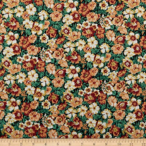 Liberty of London Orchard Garden Peach Bloom Fabric, Black, Fabric By The Yard