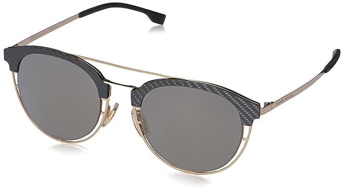 826f05bc0b7 BOSS by Hugo Boss Men s B0784s Round Sunglasses Gold Gray Bronze Mirror 49  mm