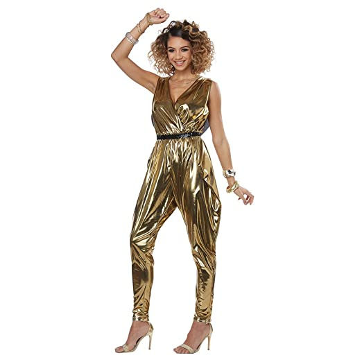 b47d71fc2100 Amazon.com  Womens 70 s Glitter N Glamour Gold Disco Costume  Clothing