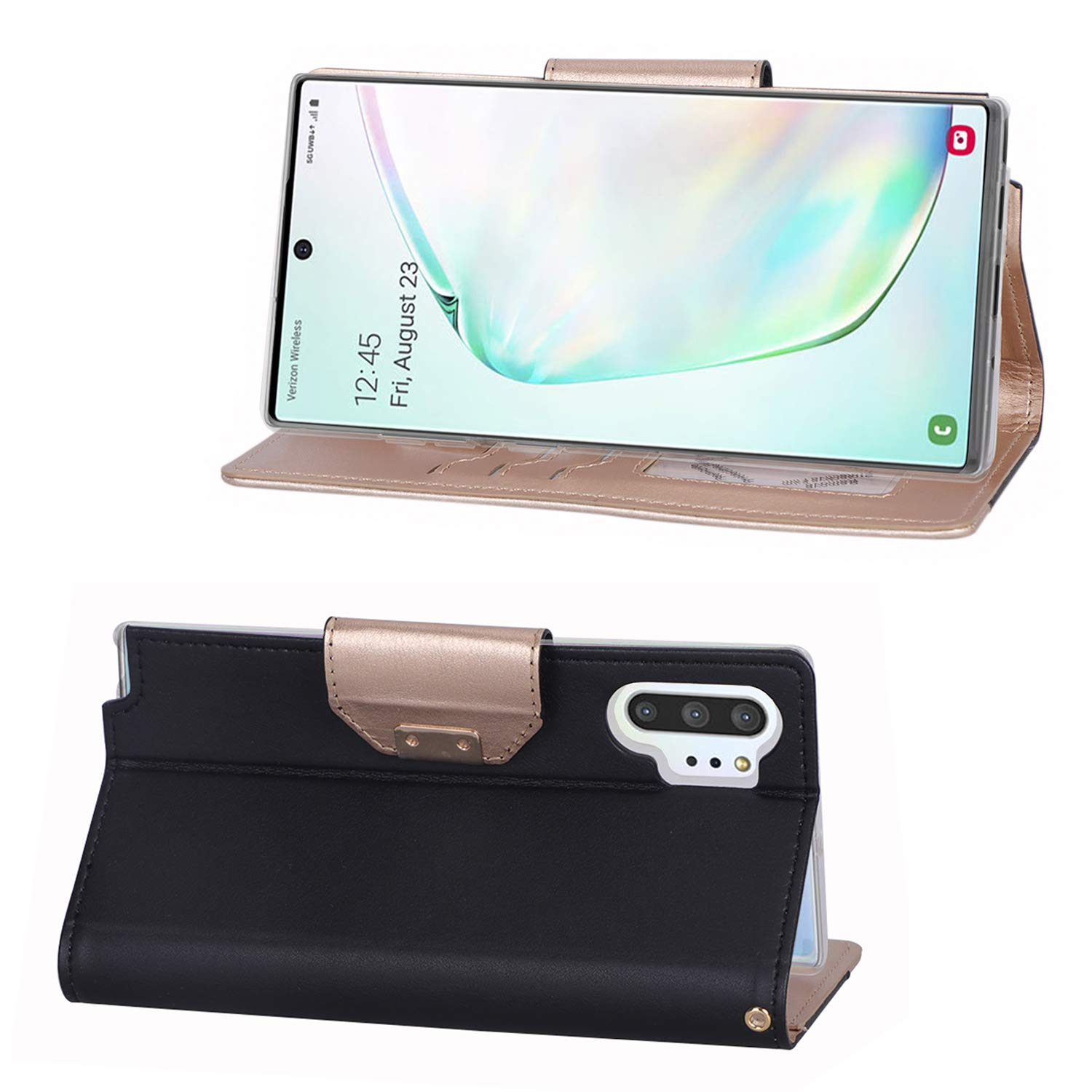 2019 Release Black Folding Stand Protective Book Case Cover for Samsung Galaxy Note 10+ Plus//5G Flip Fold Kickstand Case with Card Holders Mirror ProCase Galaxy Note 10+ Plus//5G Wallet Case