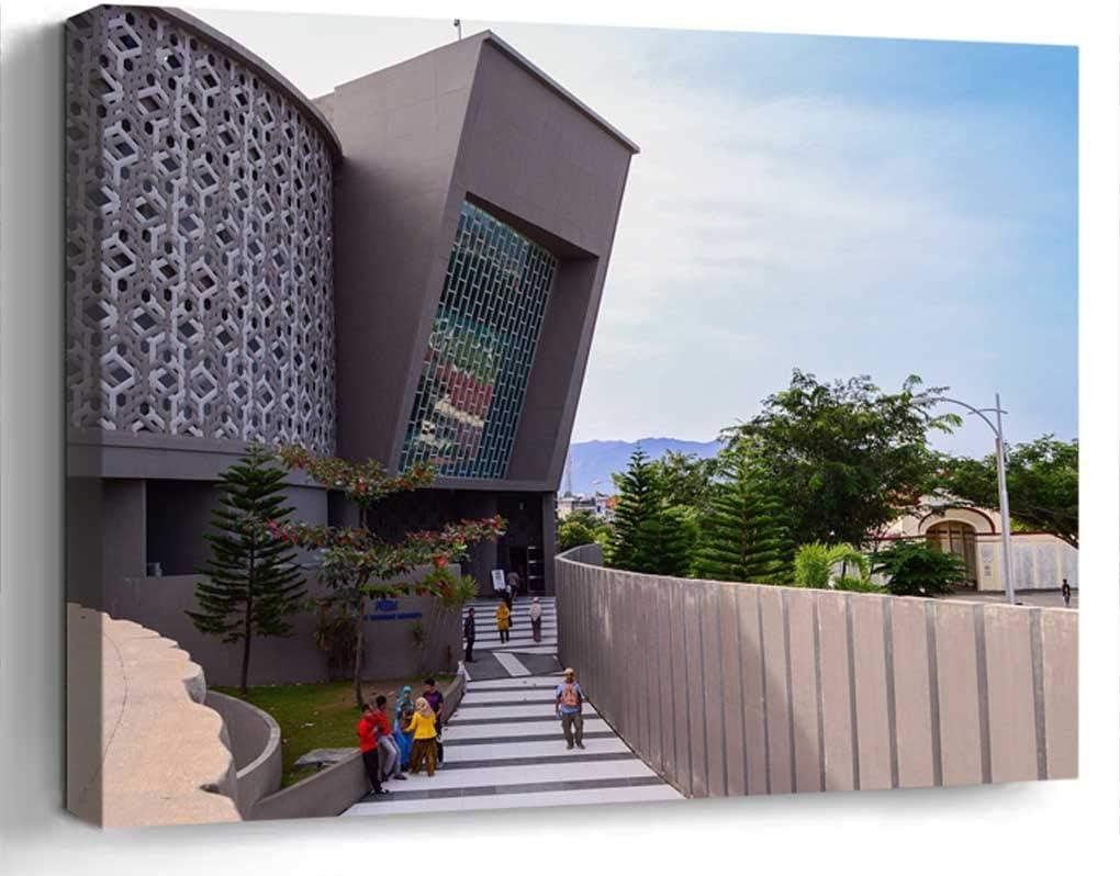 Wall Art Canvas Print Home Decor (20x14 inches)- Museum Tsunami Banda Aceh Architecture Landm