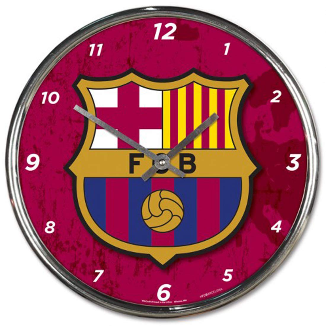 Wincraft International Soccer FC Barcelona Wall Clock Chrome Plated 12'' Round by Wincraft