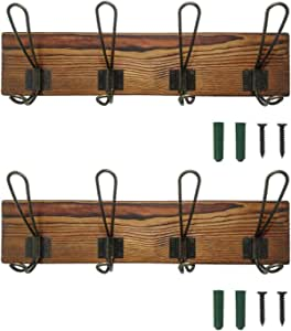 Amazon Com Rustic Coat Rack Wall Mounted Solid Wooden Coat Hook Rack With 8 Hooks Perfect Touch For Your Entryway Mudroom Kitchen Bathroom And More Brown 16 34inch Office Products