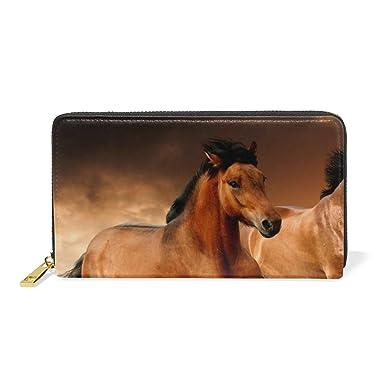 Amazon.com: lorvies correr caballos piel Bolso de Embrague ...