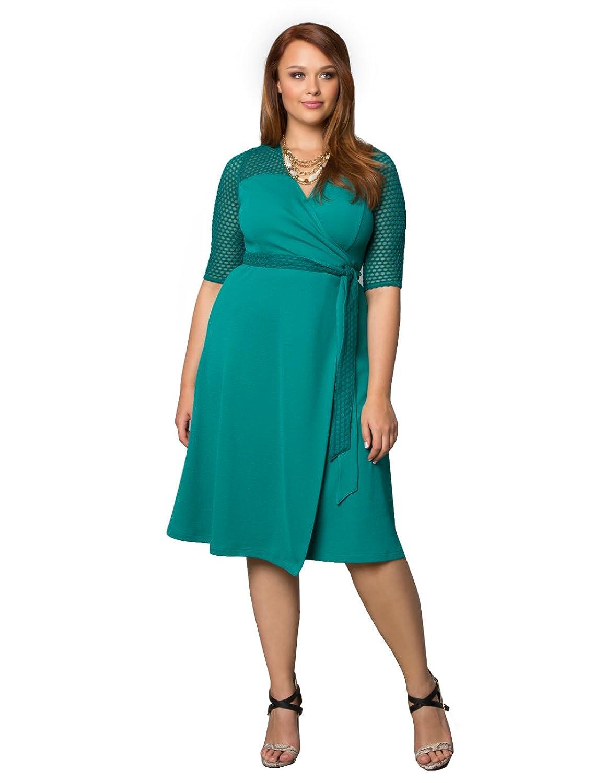 Kiyonna Womens Plus Size Honeycomb Wrap Dress 0x Gypsy Teal At