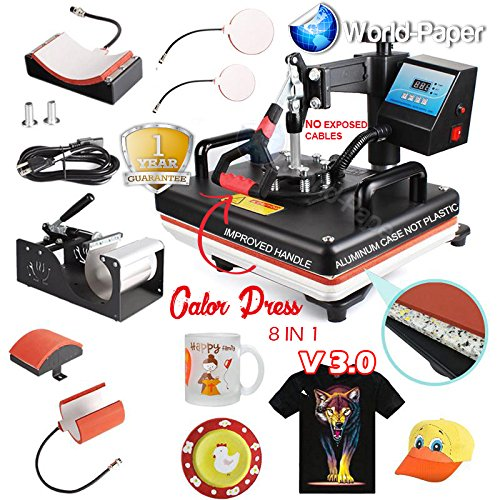8 in 1 heat Press Machine for Combo T Shirts 15x12 swing away sublimation by 8 in 1 Calor Press