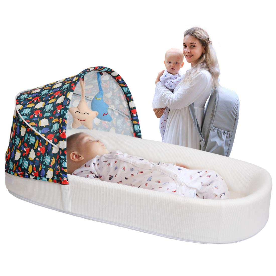 MTWML Portable Baby Bassinets,Travel Baby Bed,Soft Cotton Co Sleeping Crib with Mosquito Net and Toys,Essentials Baby Lounger for 0-8 Months Newborn Boy Girls Baby
