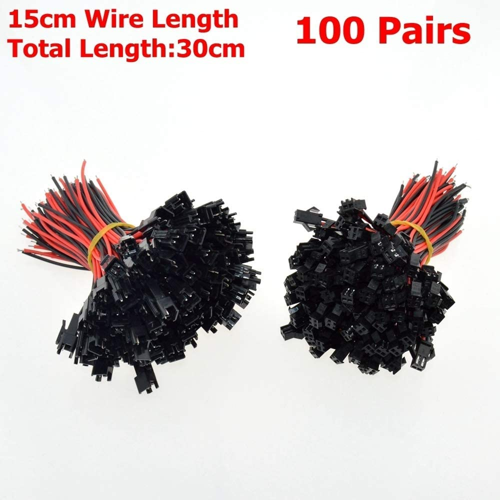 100Sets 15cm Wire Length 2Pins Female+Male SM Cable Wire Plug Connectors 22AWG for LED Light Power Cable no logo WSF-Adapters