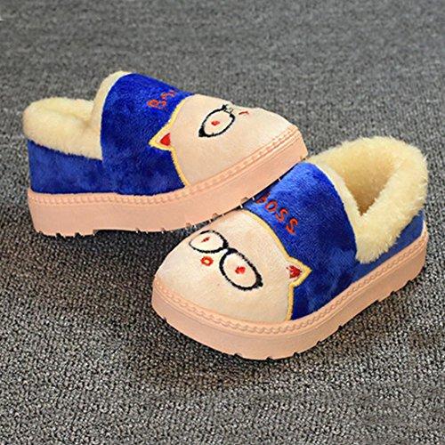 Snow Boots Schuhe Jamicy® Nette Kleinkind Bogen Baby Mädchen Jungen Plüsch Flock PVC Weiche Sohle rutschfeste Warme Samt Schneeschuhe Blau