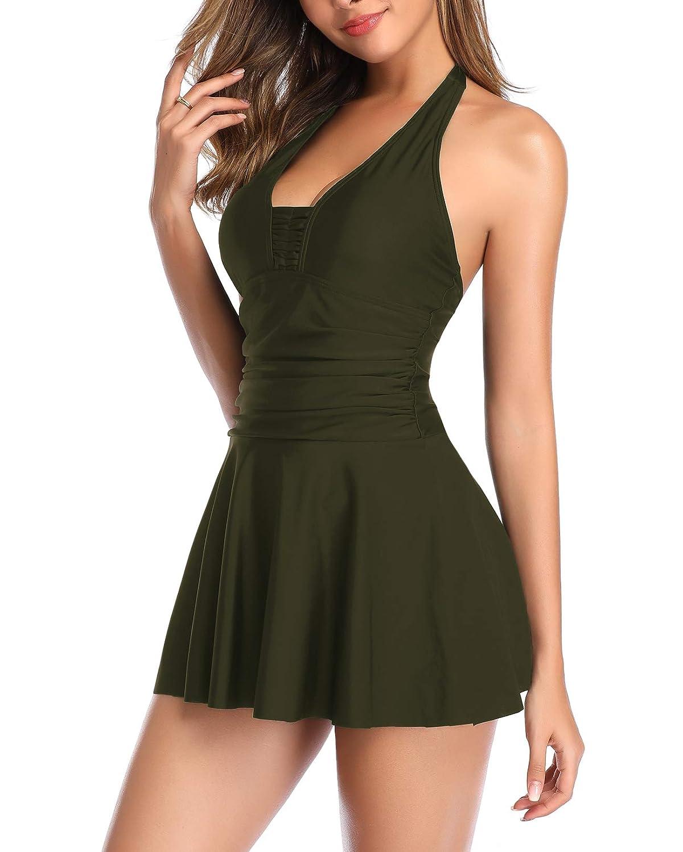 Holipick Women 2 Piece Tankini Top with Short Halter Swimdress Ruched Swim Dress