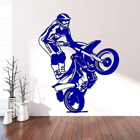 jiuyaomai Motociclista Art Sticker Pegatinas de Pared a Prueba de ...