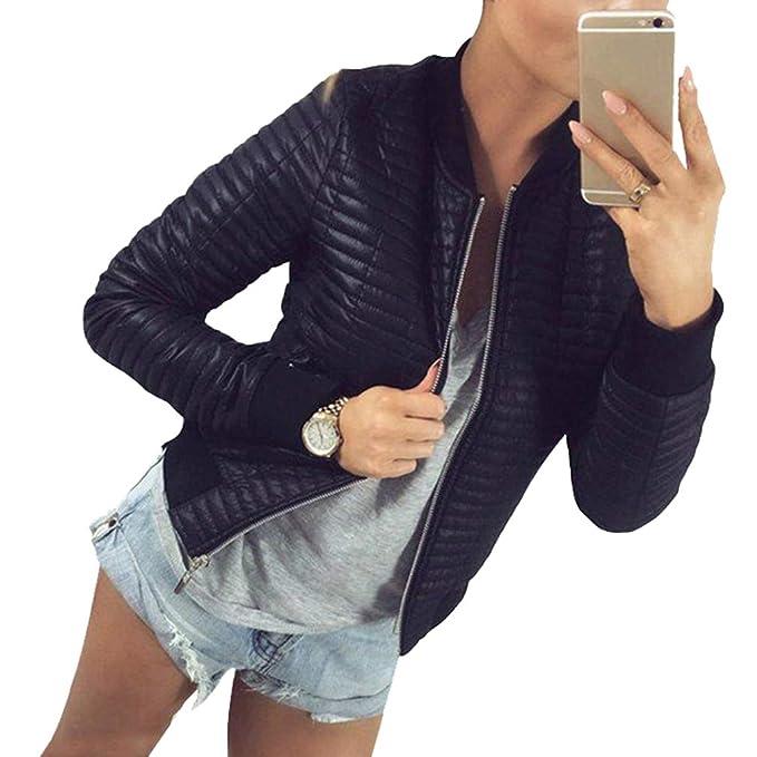 Mujer Corto Abrigos Otoño Caliente Manga Larga Slim Fit Chaqueta Cremallera Costilla Cuello Redondo Corto PU Abrigo: Amazon.es: Ropa y accesorios