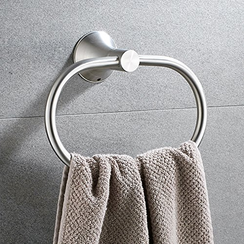 Bath Towel Ring Holder Bathroom Shower Hand Towel Ring Hanger Kitchen Round Ring Towel Rack Set Wall Mount Stainless Steel Polished Satin Brushed Brushed by KOOLIFT by KOOLIFT