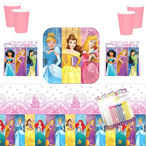 Disney Princess Dream Big Party Plates Napkins Cups and Table Cover Serves 16 with Birthday Candles - Disney Princess Party Supplies Pack Deluxe (Bundle for 16)
