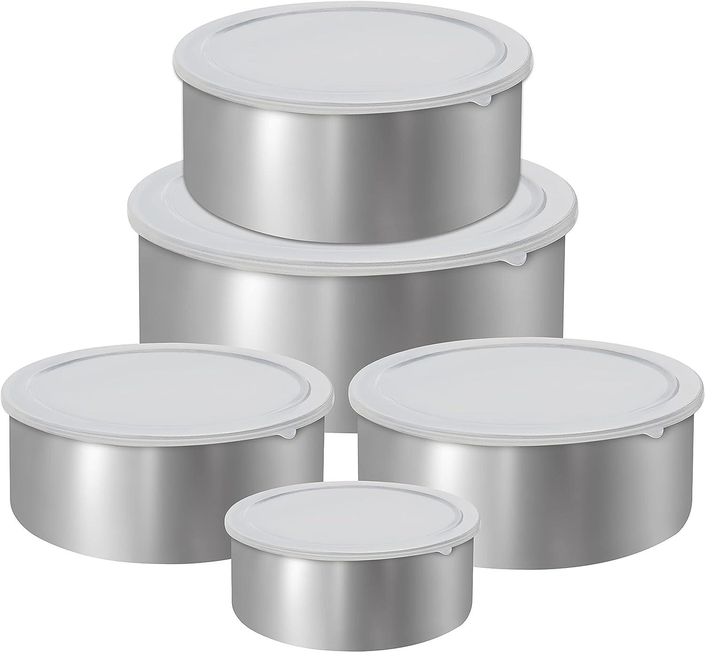 Set 5 Contenitori in acciaio  con coperchio porta alimenti ciotola