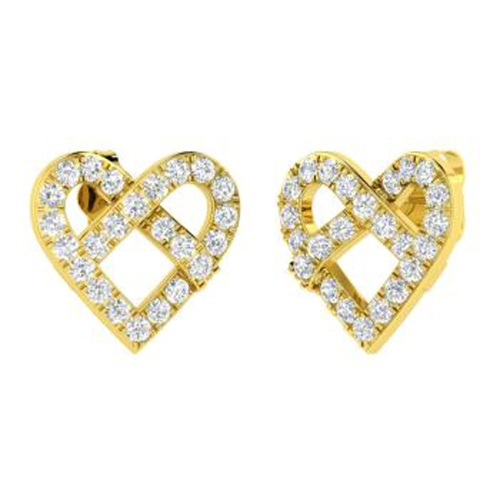 Dividiamonds 0.77 Ct Round Cut Clear CZ Diamond Drop Earrings Solid 14K Gold Plated For Womens /& Girls
