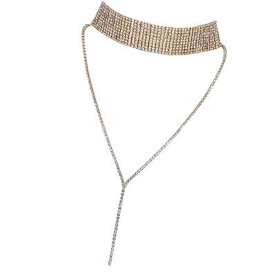 1a6bcc346def9 Flongo Gargantillas Doradas Choker de Metal con Diamantes de ...