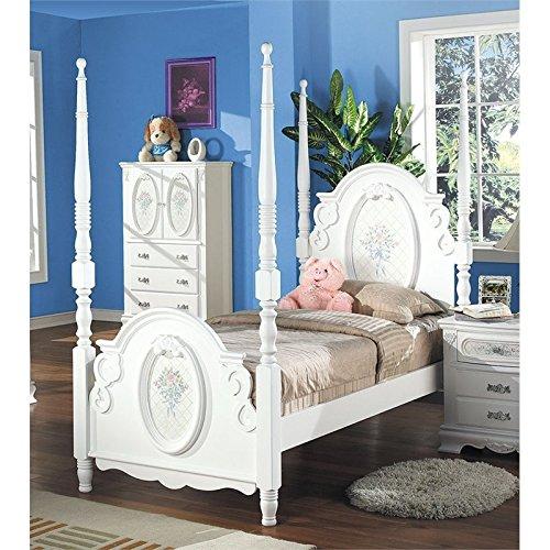 ACME 01657F Flora Post Bed, Full, White Finish - Flora White Finish